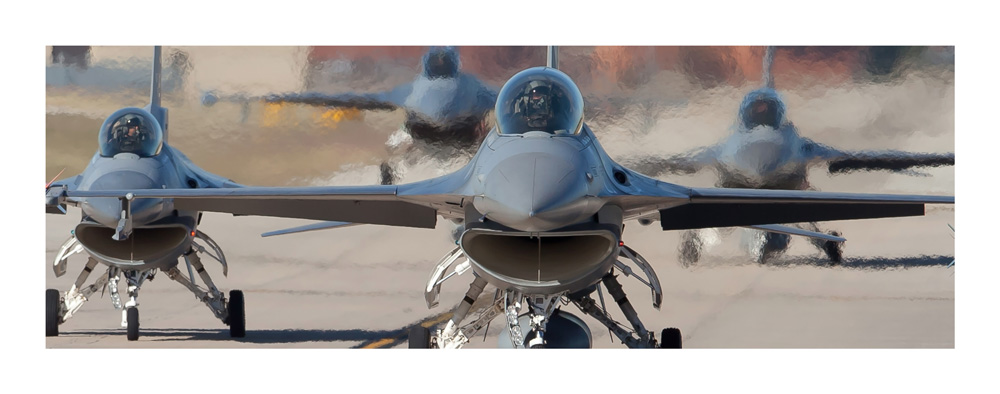 Image of F 16s readying for take off