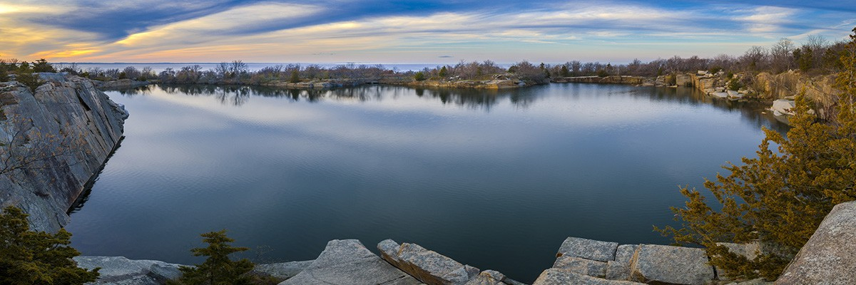 Halibut Point SP quarry lake MA six vertical shot panorama DB