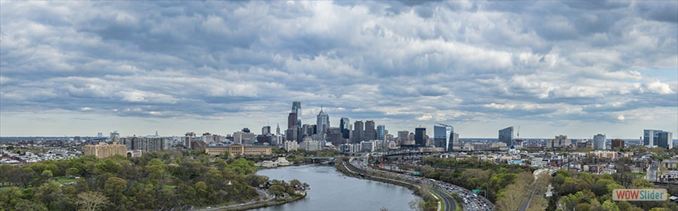 Philadelphia  Skyline looking South along Schuylkill River